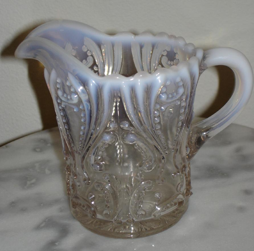 White Opalescent Glass : Jefferson idyll white opalescent glass quot tall creamer ebay