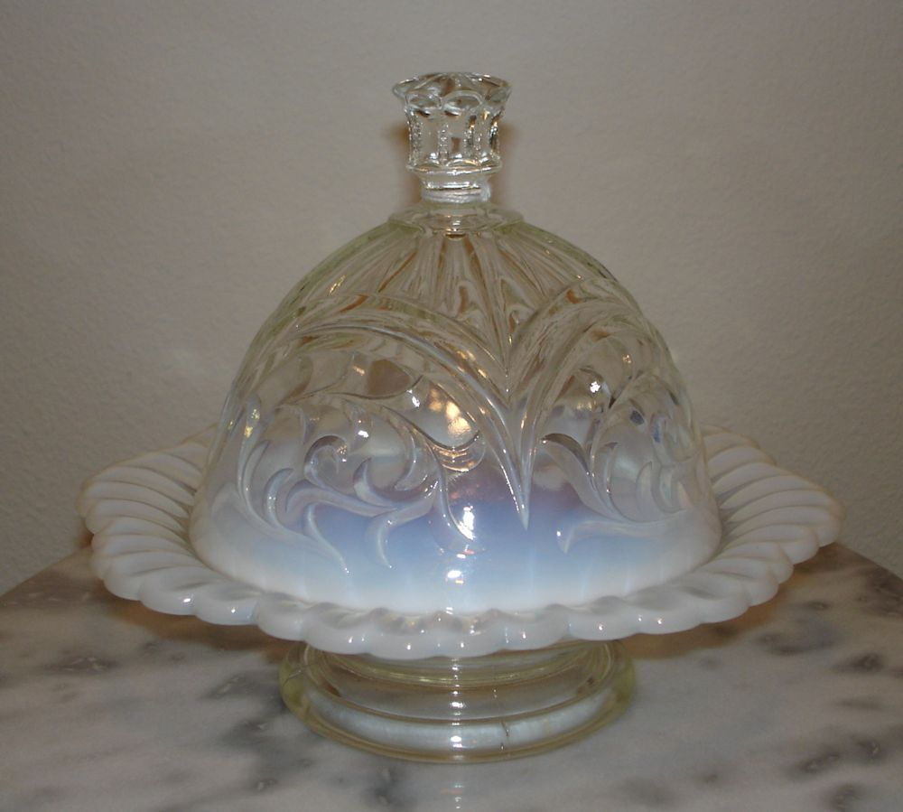 White Opalescent Glass : Dugan circled scroll white opalescent covered butter dish