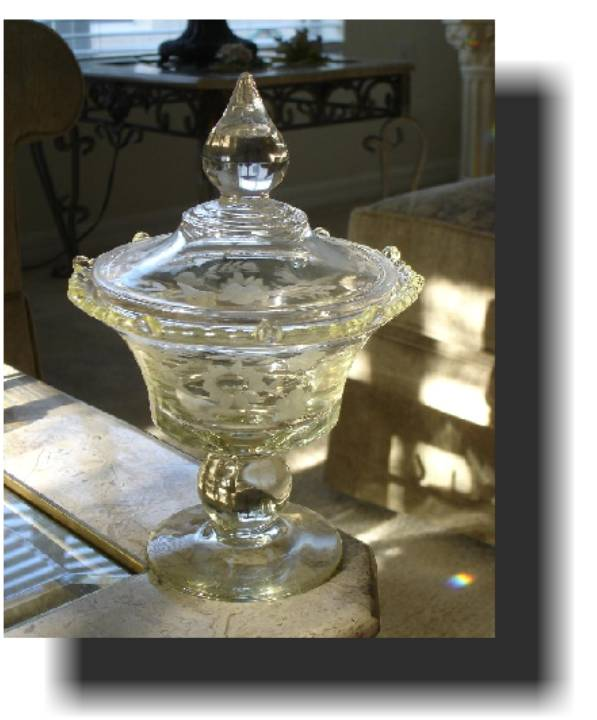 Wheel Engraved Covered Compote